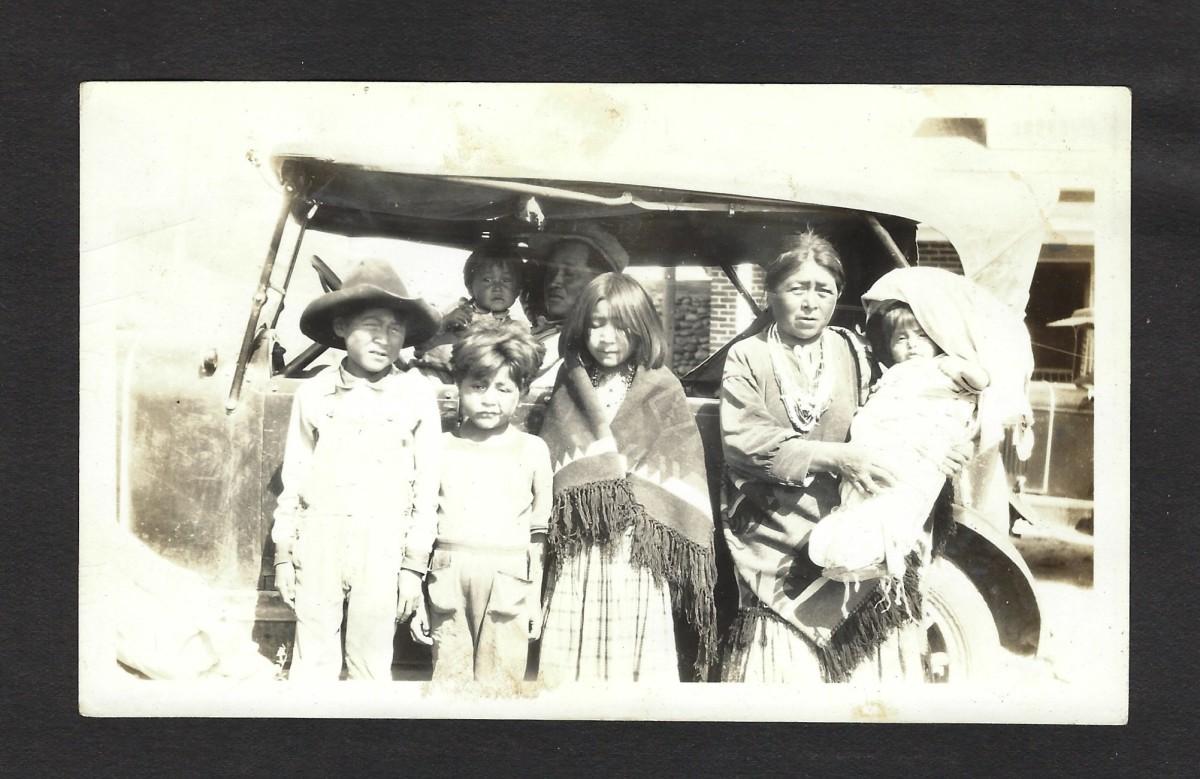 1930 - Navajo family at the Mission school in Farmington