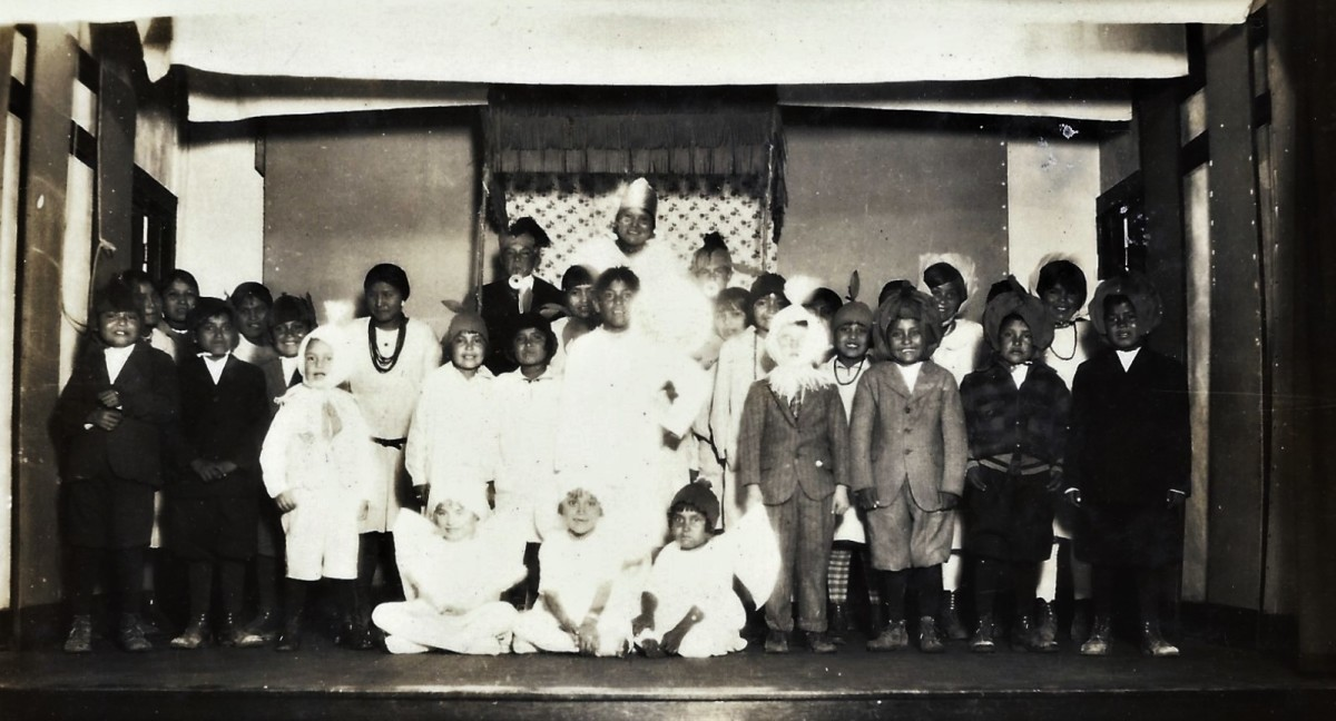 Children dressed in costumes for the Christmas pageant.