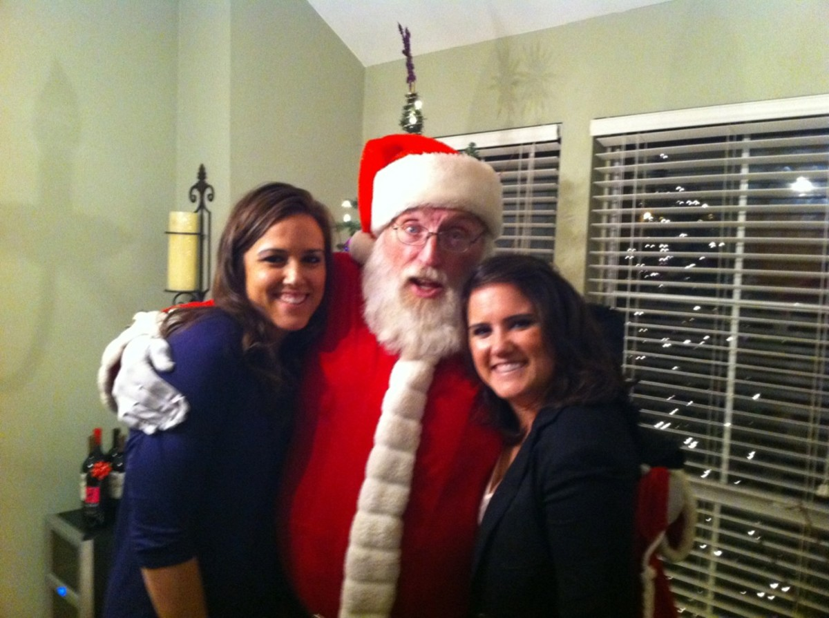 One, year, we had an actual random Santa show up at our front door!  He said our party had the most cars in the neighborhood so he stopped by and ate some gumbo!