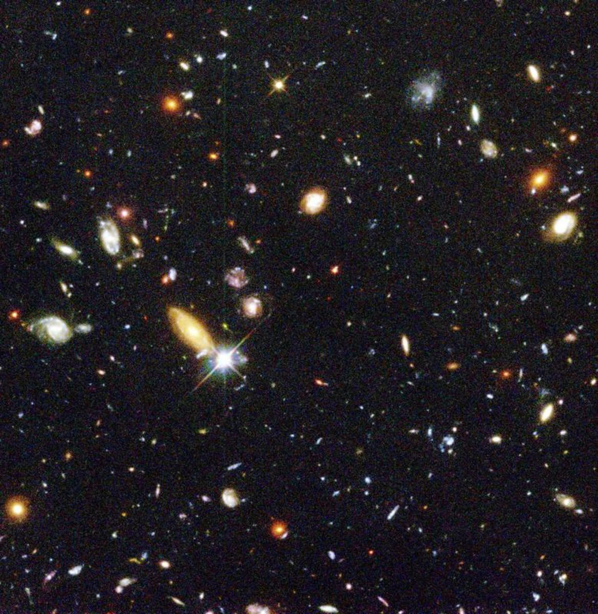 The Deep Field Image taken by the Hubble Space Telescope. Because light from these galaxies takes so long to reach us, we are looking back in time to the very beginnings of the Universe. But space is not as crowded as this image makes it appear...