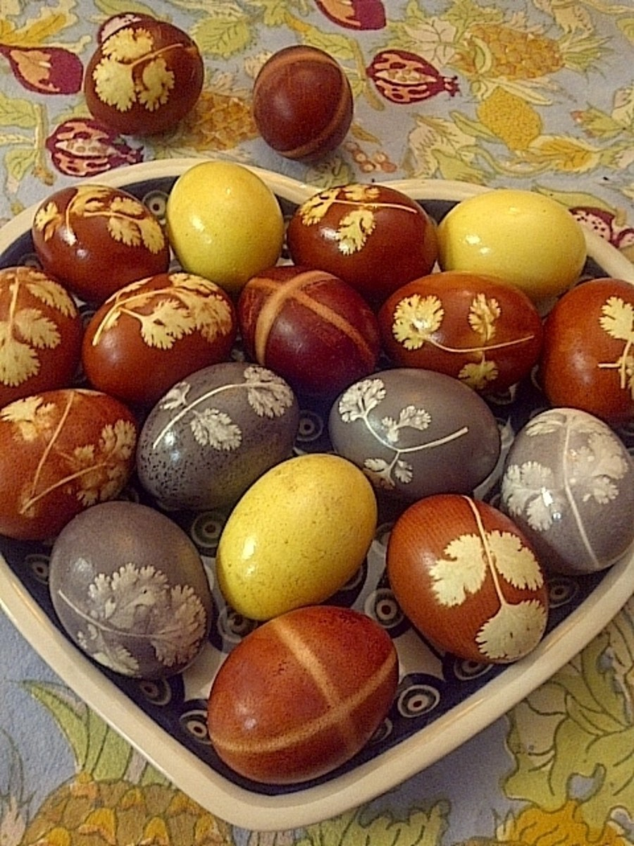 Traditional Armenian Easter Eggs Dyed with Onion Skins
