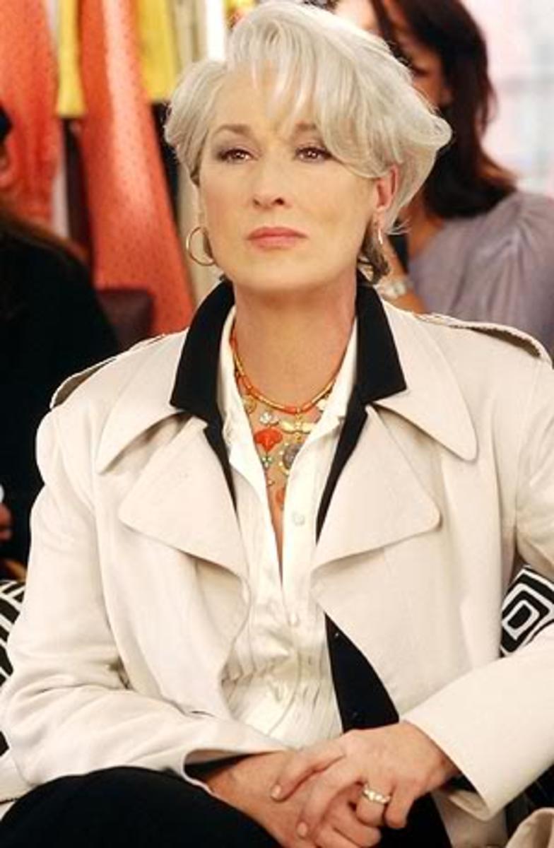 Meryl Streep (Miranda Priestly) hairdo.