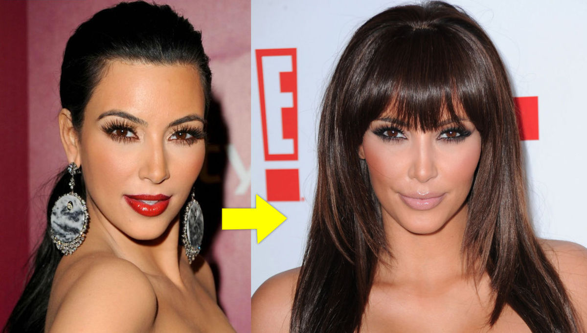 Kim Kardashian with her oblong face shape.