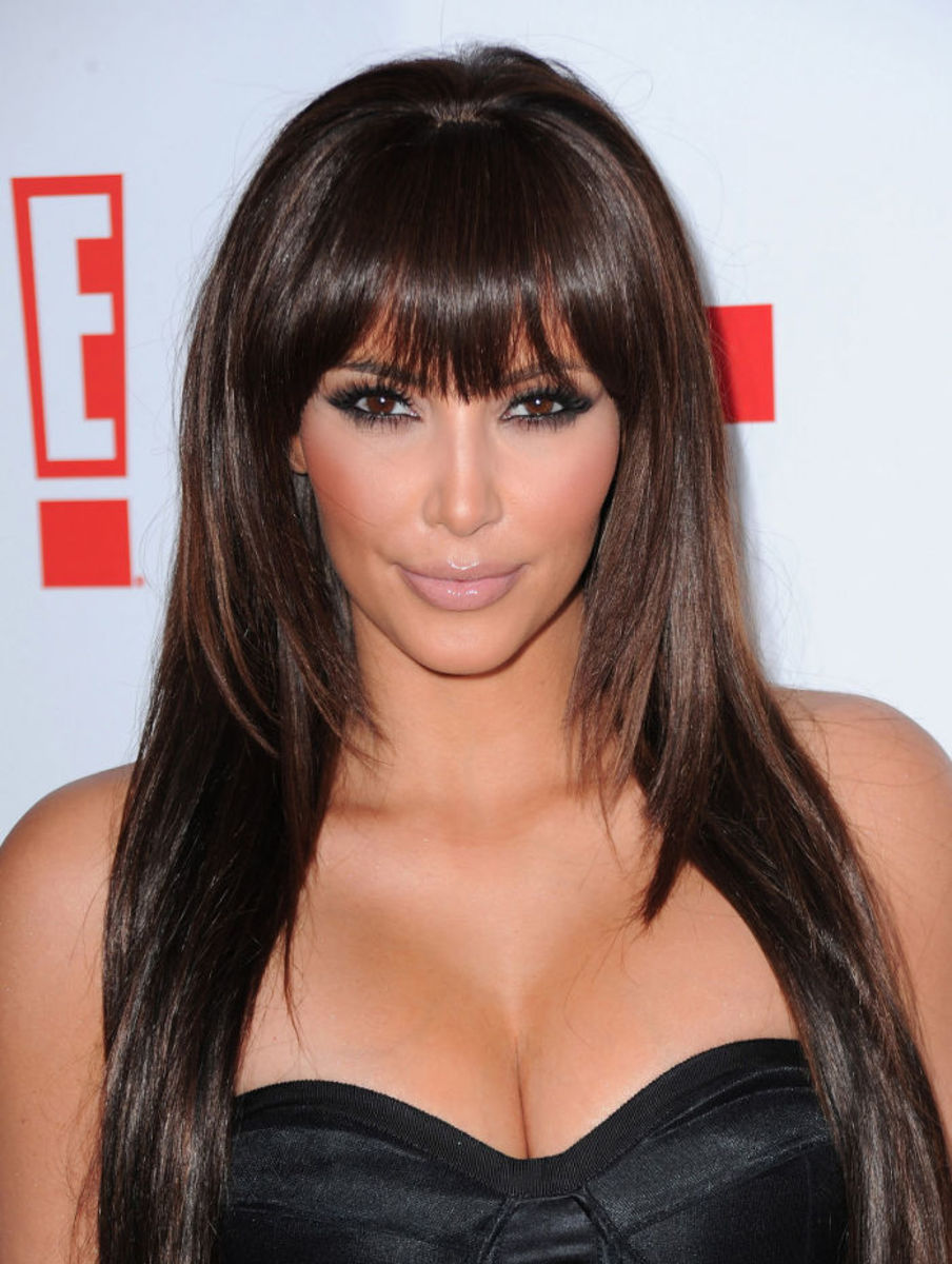 Kim Kardashian bangs hair.