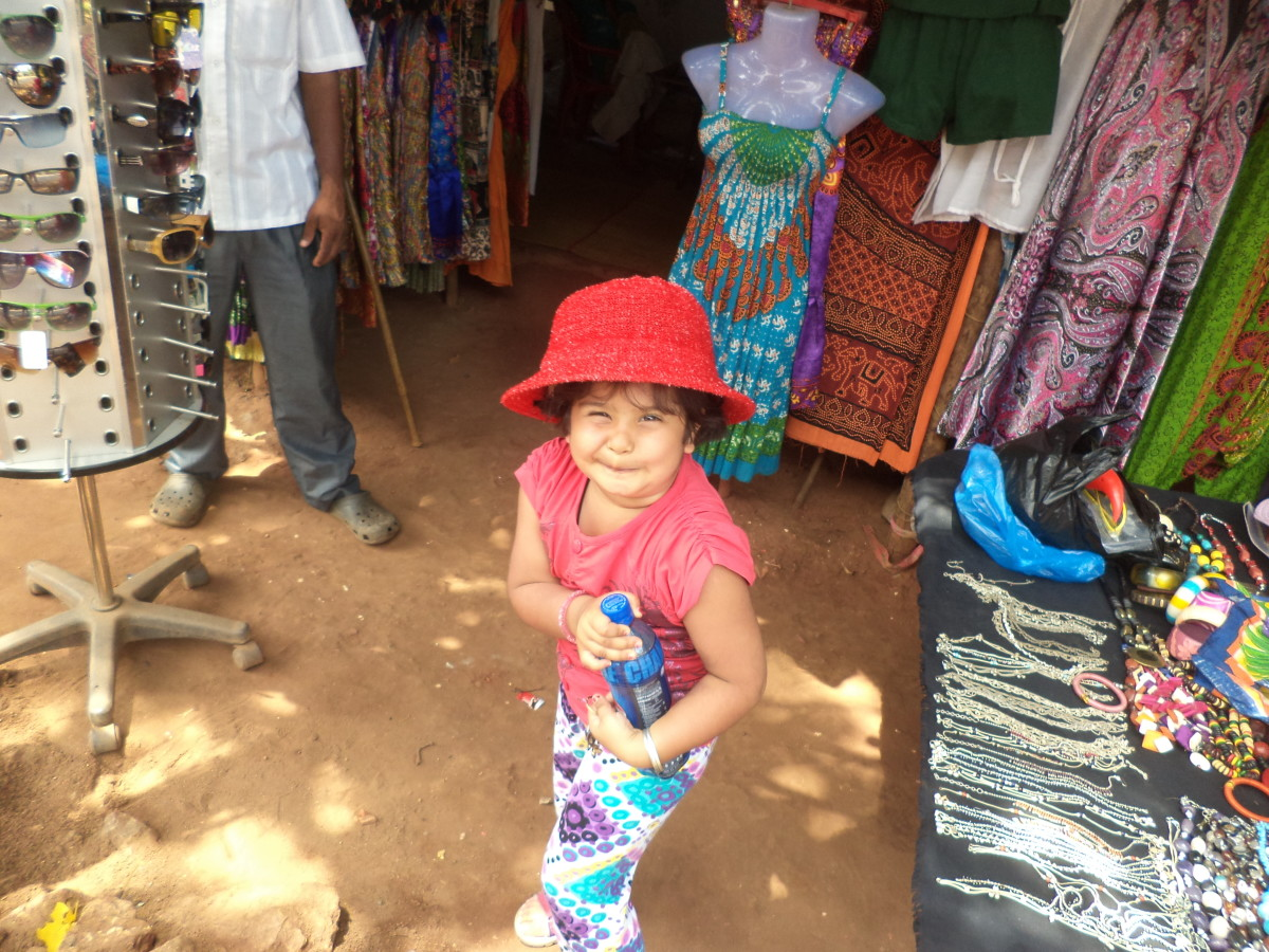 My daughter Shronika Soni, posing at the Baga Beach Market