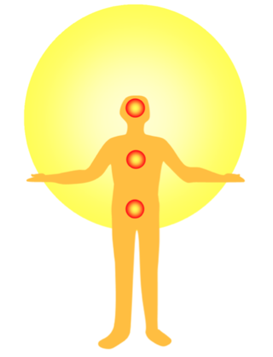 The three dantiens, or energy centers of Taoist qigong.  Lee Holden begins and ends his exercise series at the lower dantien, the center where energy can be stored.