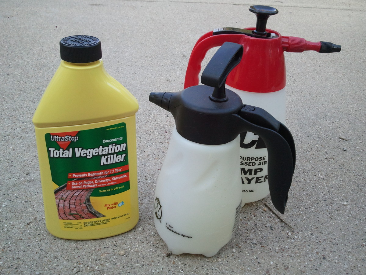 Liquid herbicide concentrations mixed with water and applied with sprayers.