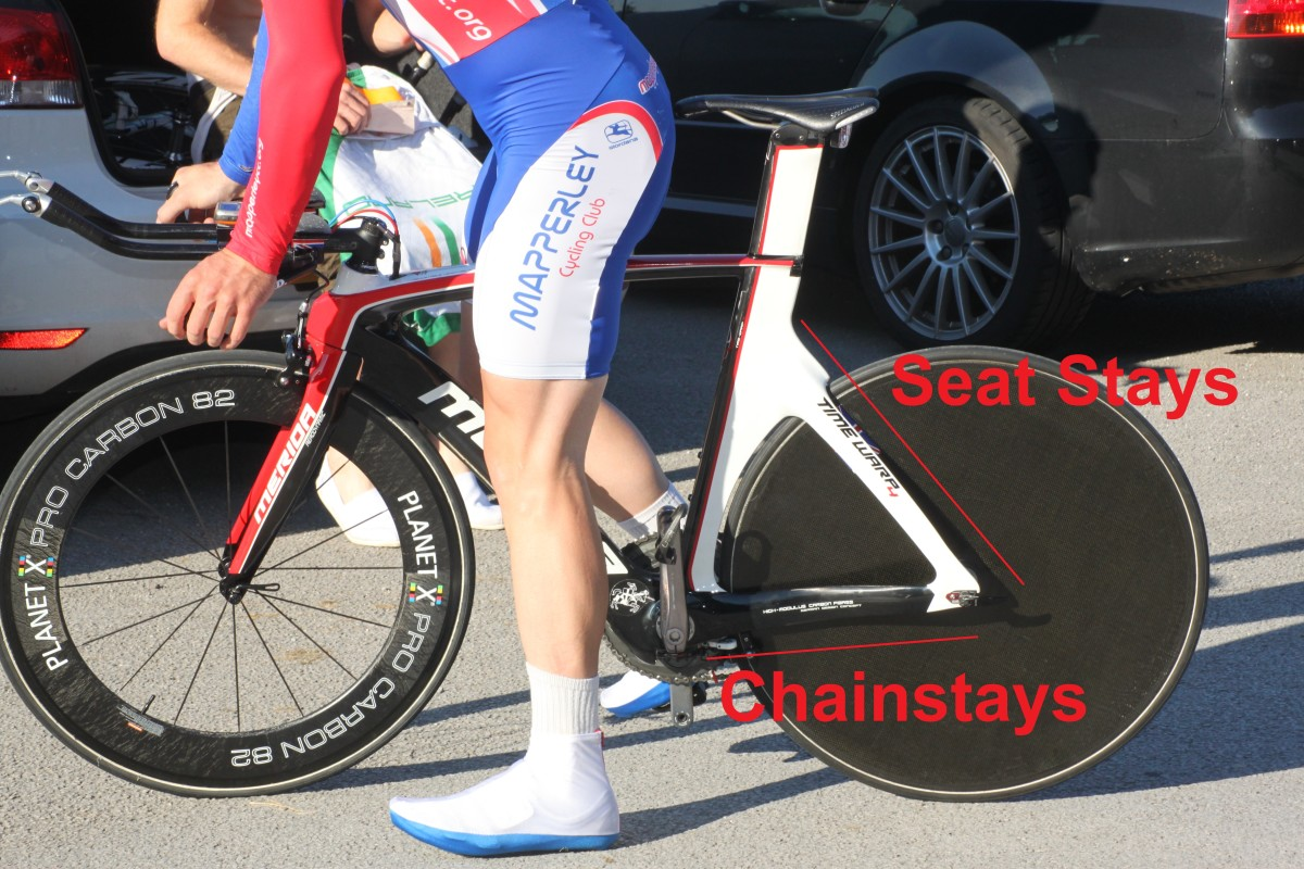 The seat stays and chainstays of a bike as pictured on a Merida Time Warp Time Trial frame.
