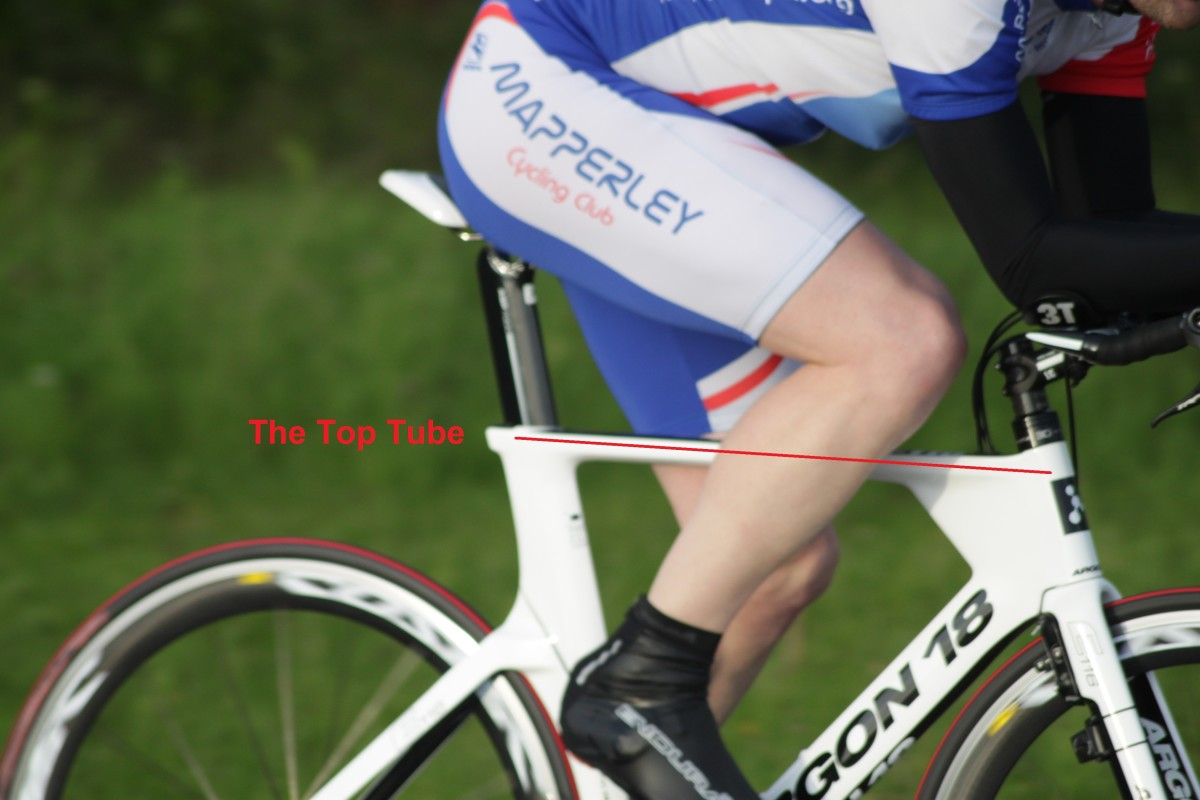 The top tube of a bicycle frame- connects the seat tube to the head tube. Bicycle featured is an Argon 18 E-118 Time Trial Frame with Mavic Cosmic Carbone Wheelset