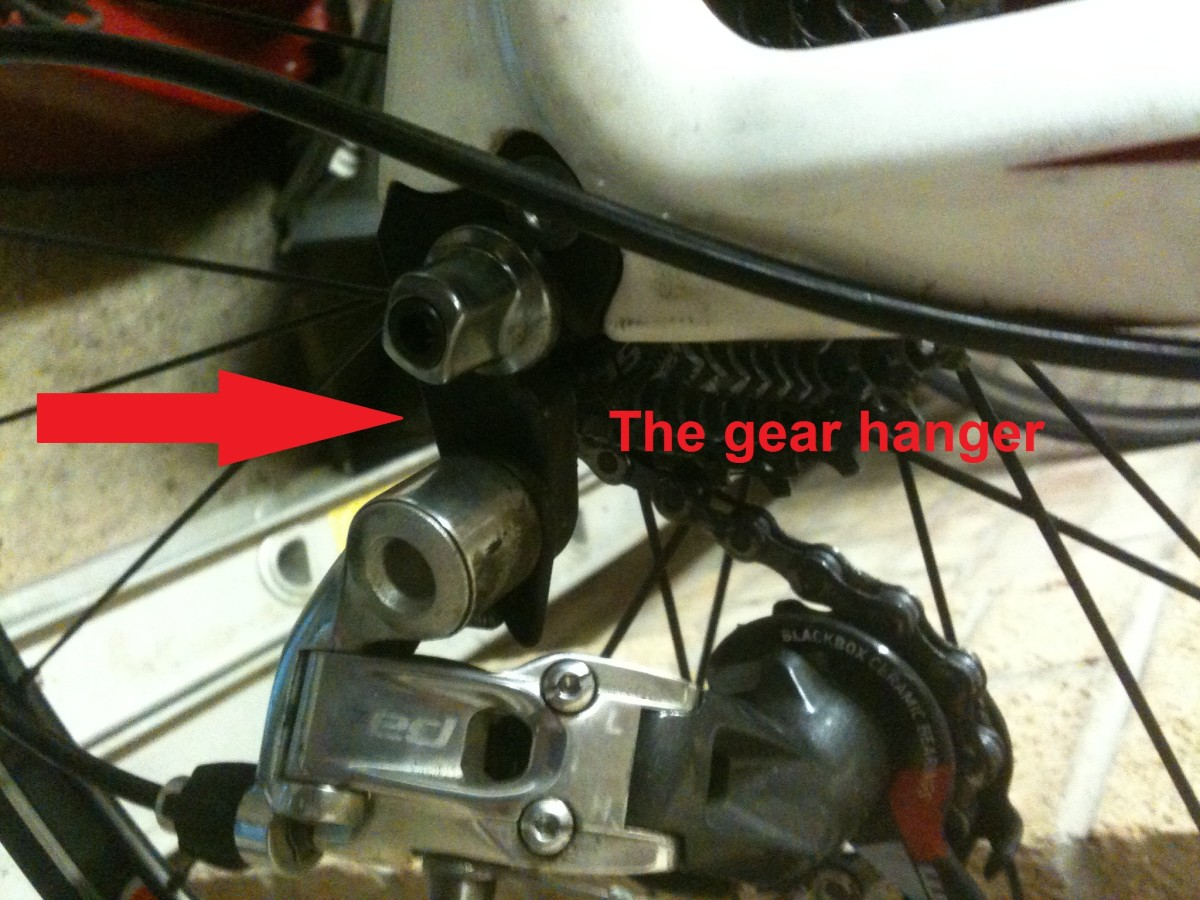 A replaceable gear hanger (pictured on a Planet X RT 57 carbon frame)