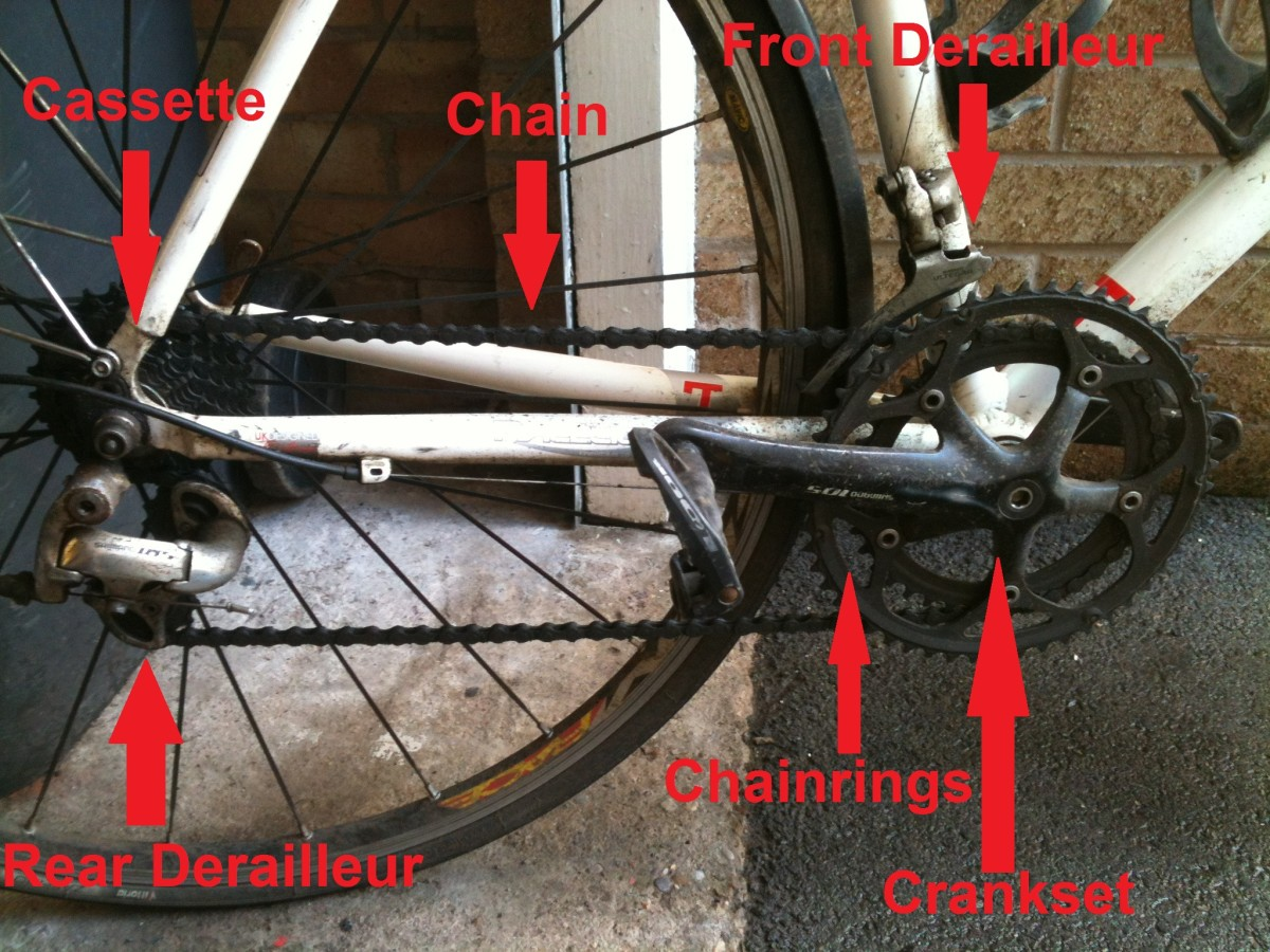 The constituent components of a bicycle drivechain.  Bicycle pictured is a Kinesis Racelight T Winter training frameset kitted out with a mix of Shimano 105 and Ultegra components and a Mavic Aksium Wheelset