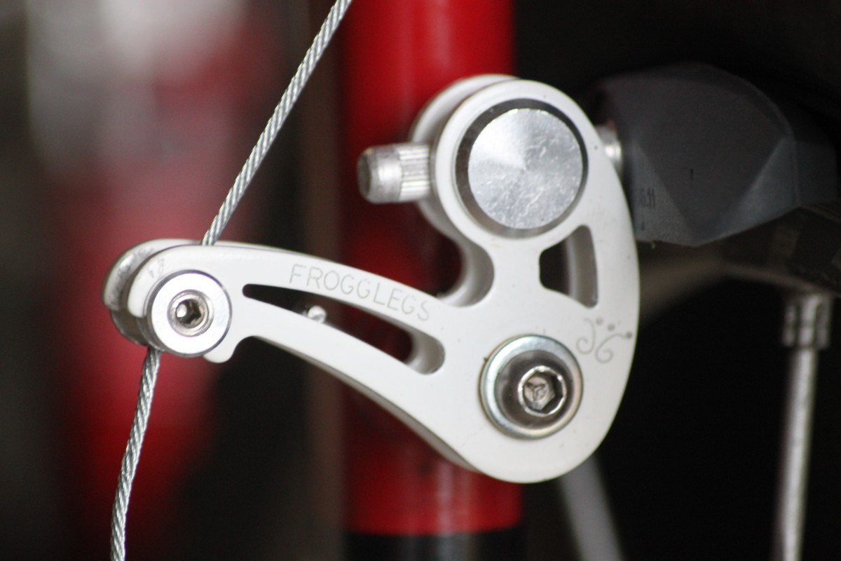 A cantilever rim brake as used on a touring style or older style cyclocross bike