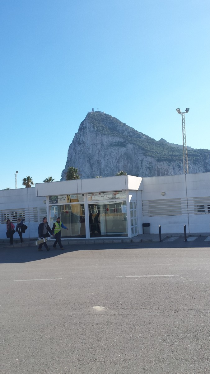 The Rock of Gibraltar viewed from over the border with Spain