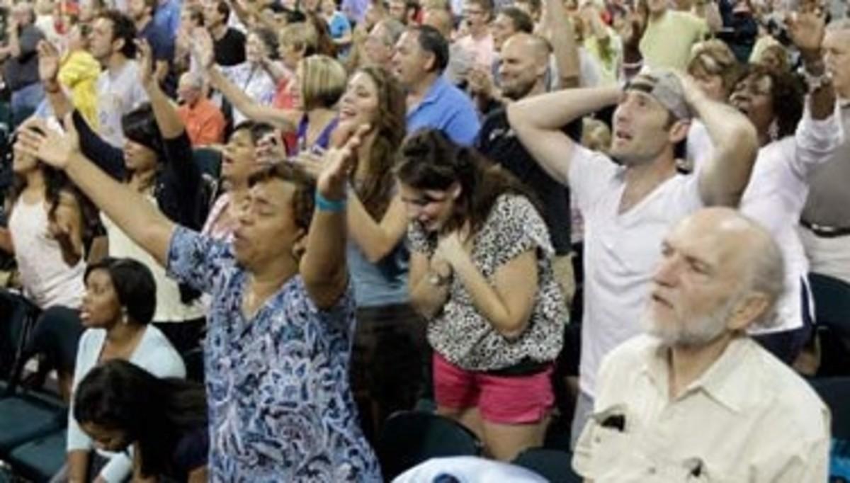 Christian worshipers displaying euphoria.