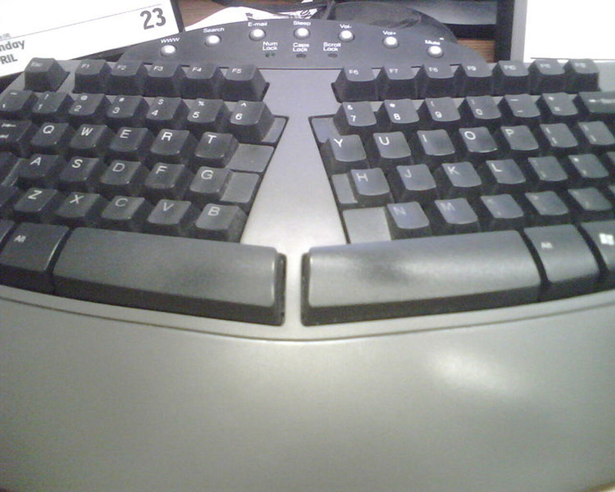 An ergonomic keyboard is designed to minimize muscle strain by creating a shape that is natural to the hands.