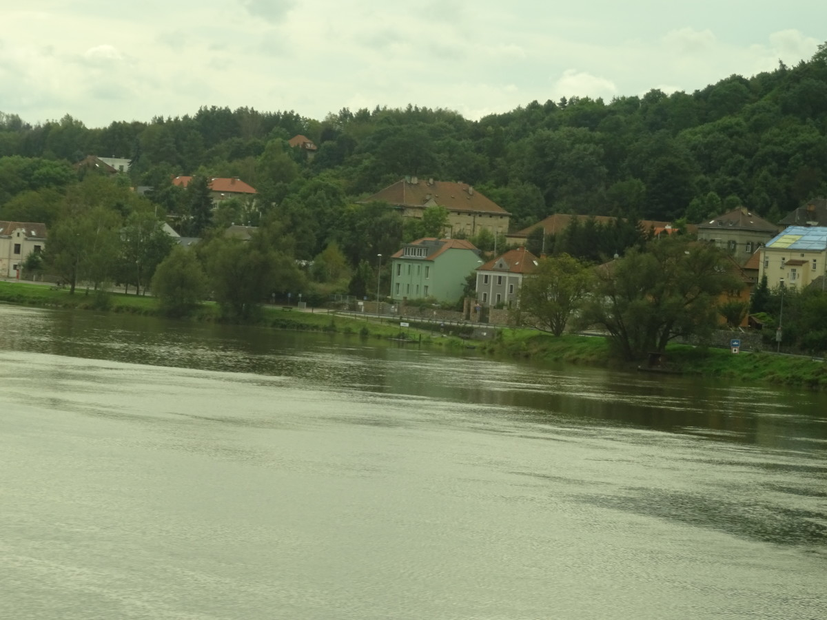 The train follows the river from Dresden to Prague
