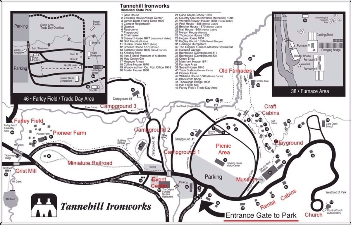 A map of the grounds with highlights added by author.
