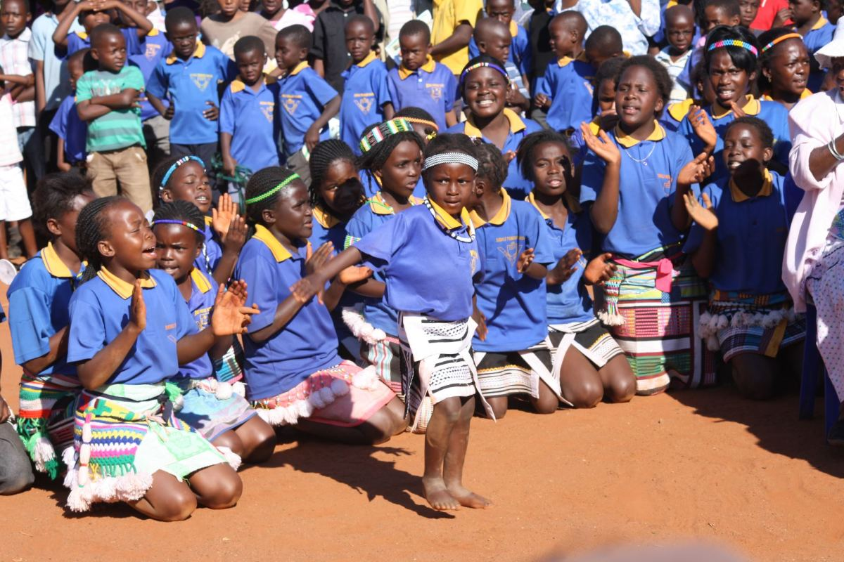 Venda Kids perfuming communal traditional Singing and dance clad in traditional Venda garb...