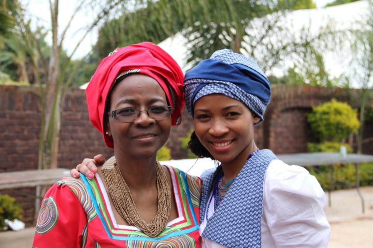 Modern Tswana women in modern Tswana traditional dress