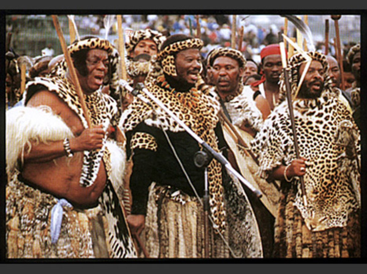 Buthelezi and Zulu Indunas in traditional Zulu Wear