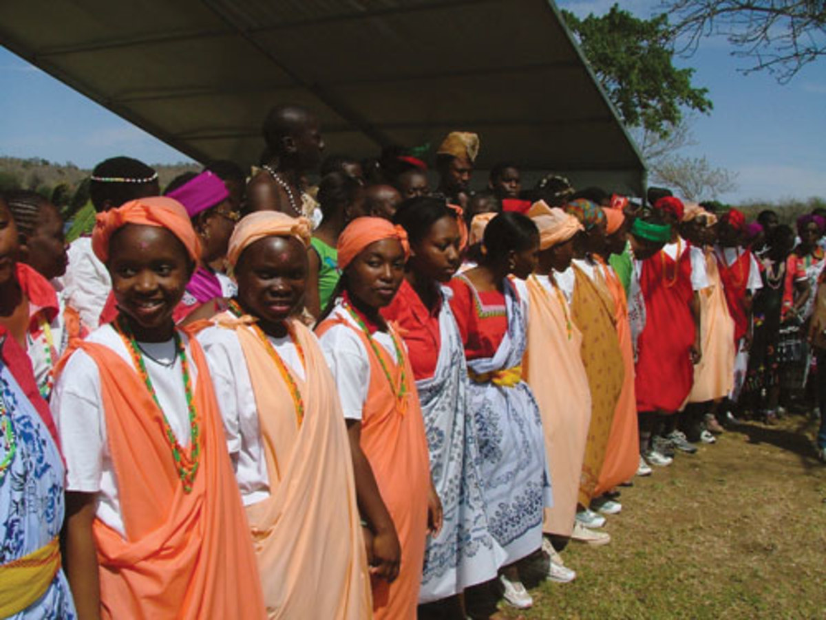 Tsonga women in traditional dress line-up