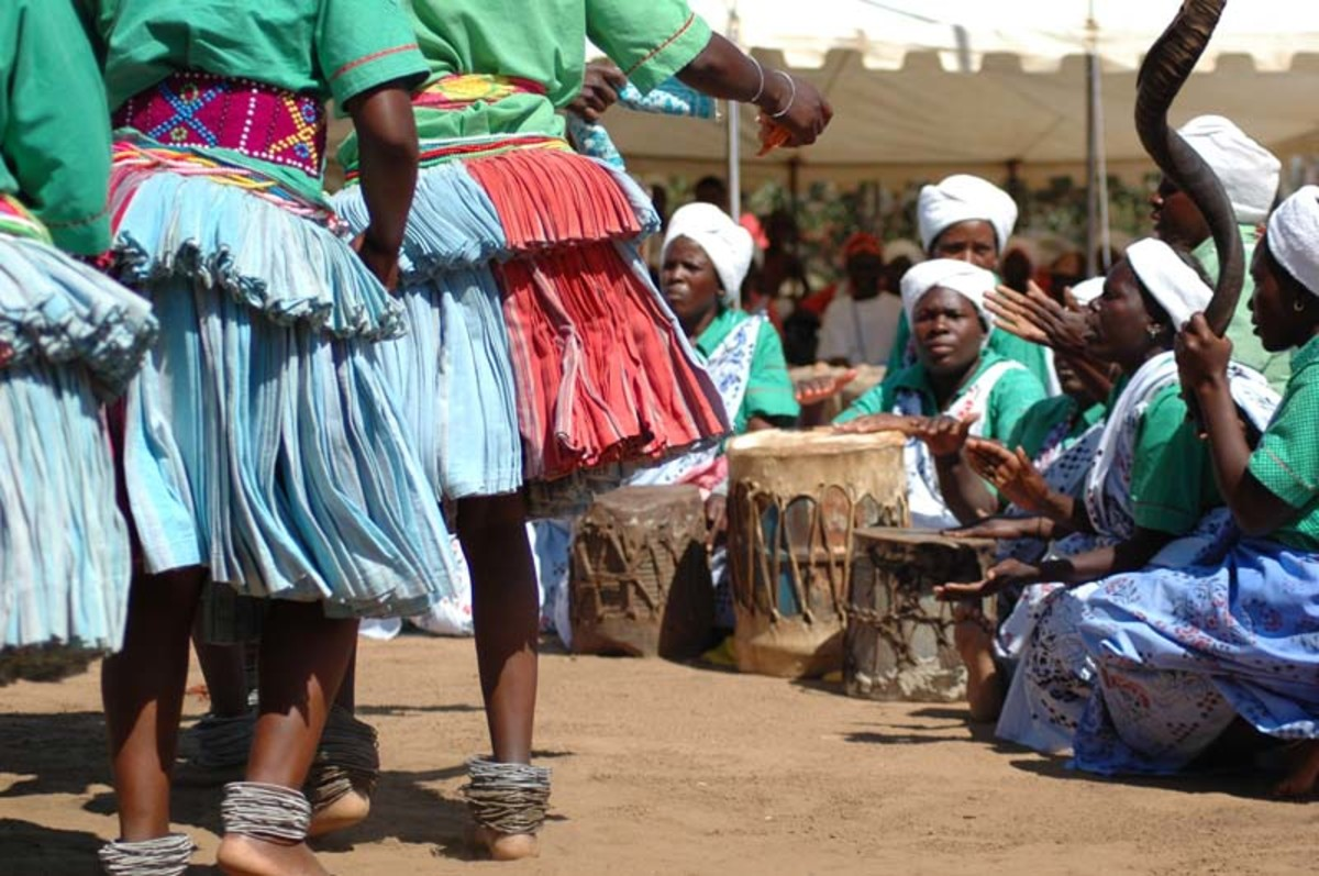 Shangaan women drummers and dancers in traditional clothes and drum singing traditional and dancing traditionally to music of their culture
