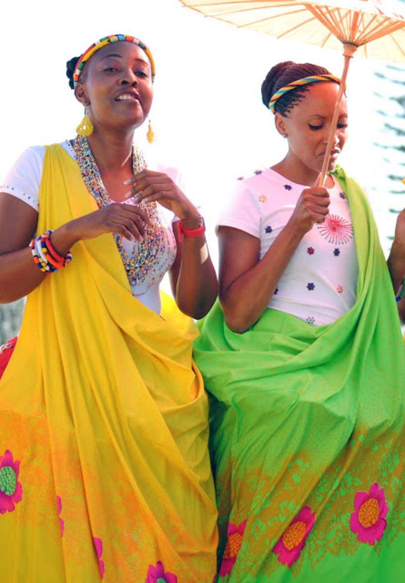 Tsonga women in their modern Tsonga traditional dress for a wedding