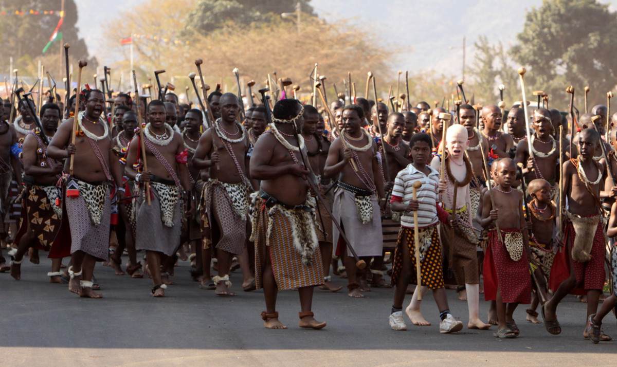 Swazi men and boys in the Reeds march