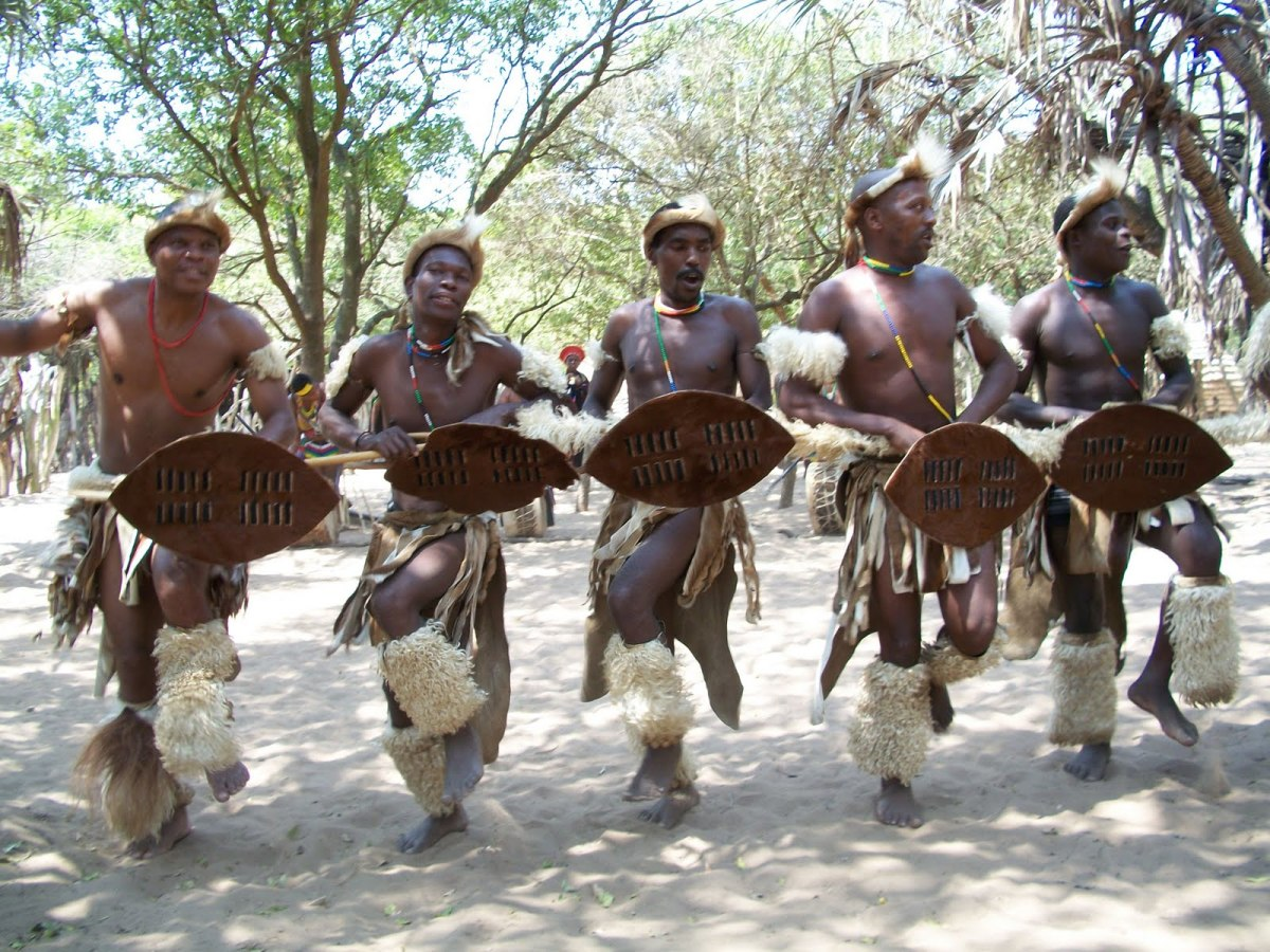 Zulu Men Wearing Cultural Garb and performing tradition/customary dance and song