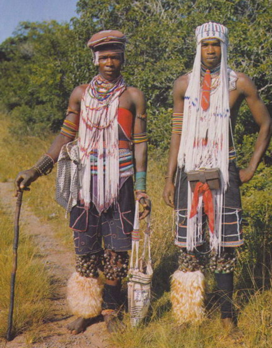 Xhosa Men-Wearing the Mfengu traditional headband and dress/plus beads