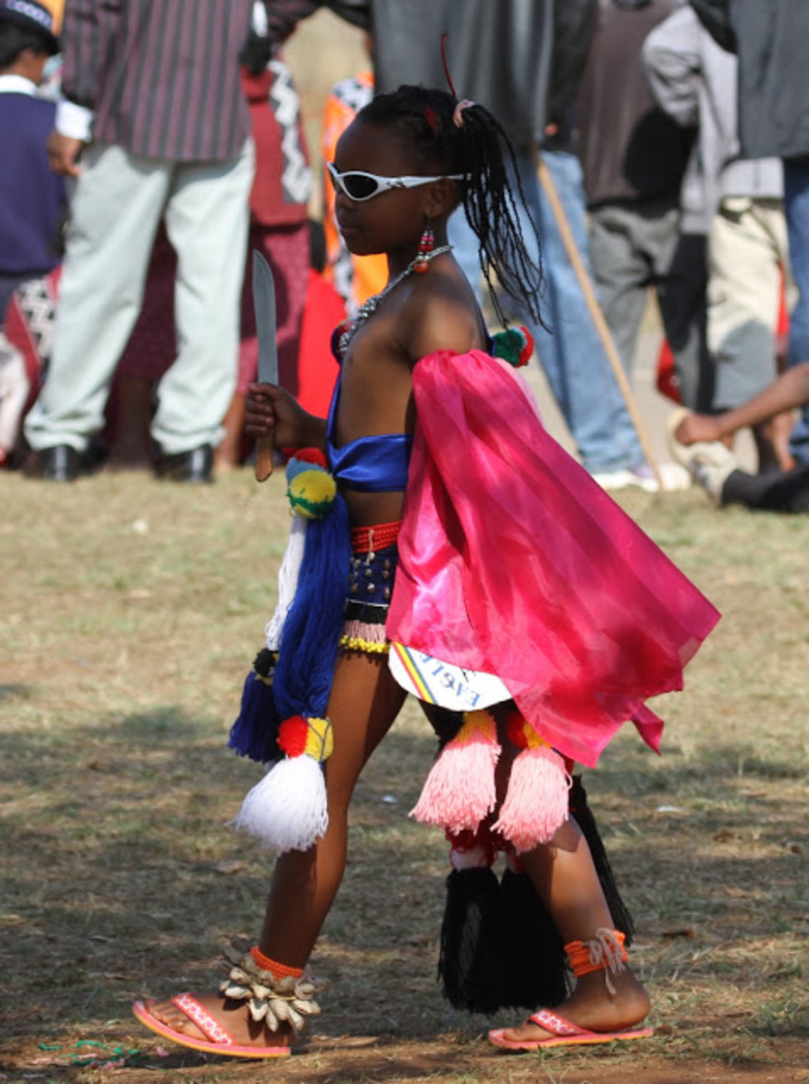 Young Swazi Lass strutting her cultural stuff and stride with confidence and dignity
