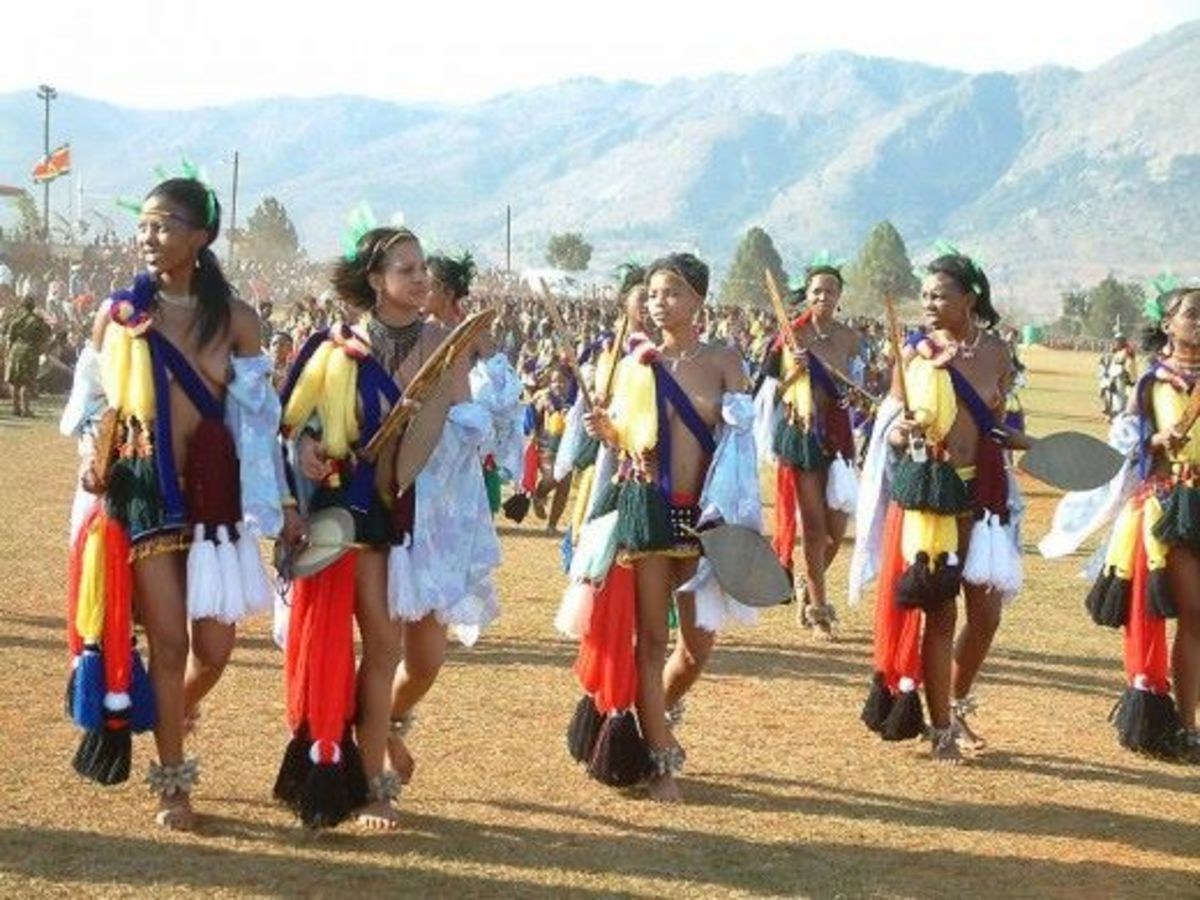 "Swazi Girl In formation in the celebration of the ""Reeds"" Festivities.."