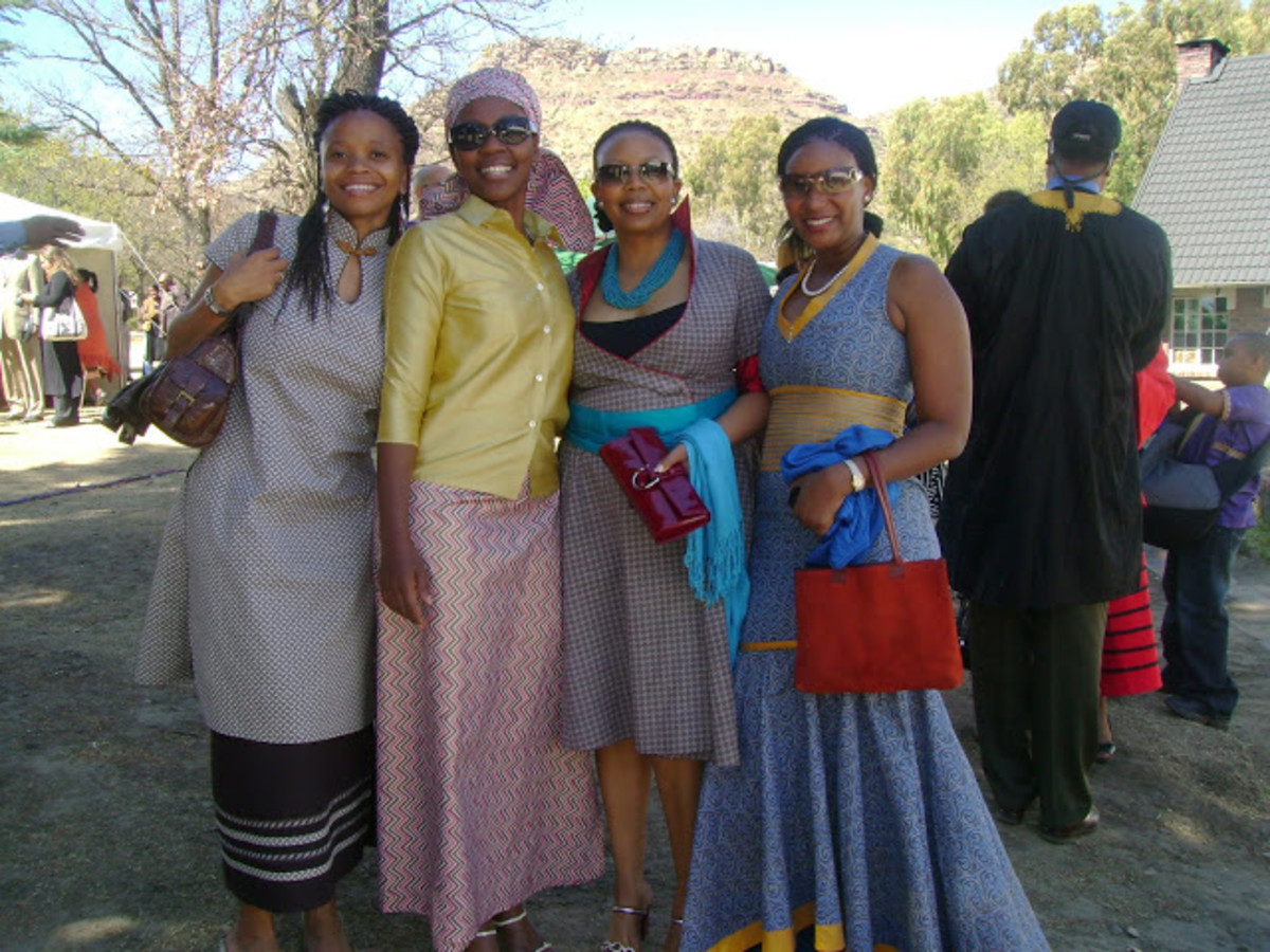 Modern Basotho dressed in Sesotho traditional Cloth and various colors and styles