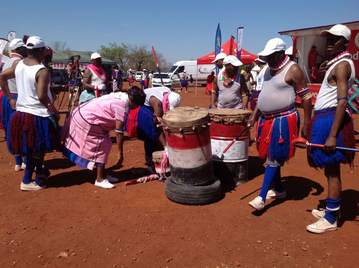 Bapedi men making preparation of their drums for a Cultural celebration and festivities