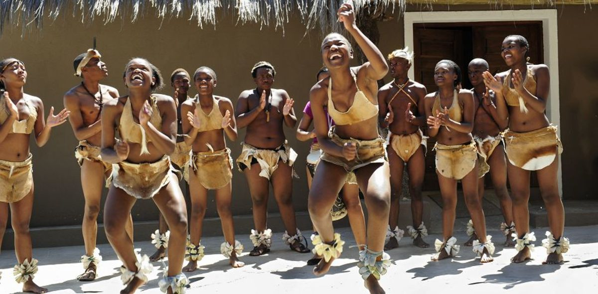 Batswana Dances perfoming the Batswana dance clad in Tswana traditional dress...