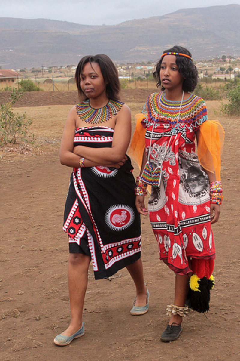 Swazi ladies clad in their traditional cloths and beadwork
