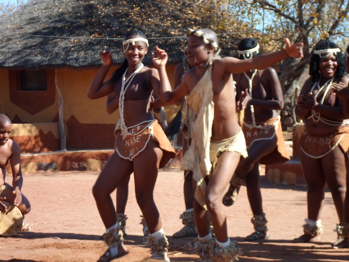 Tswana Youth doing traditional dancing and wearing traditional clothes