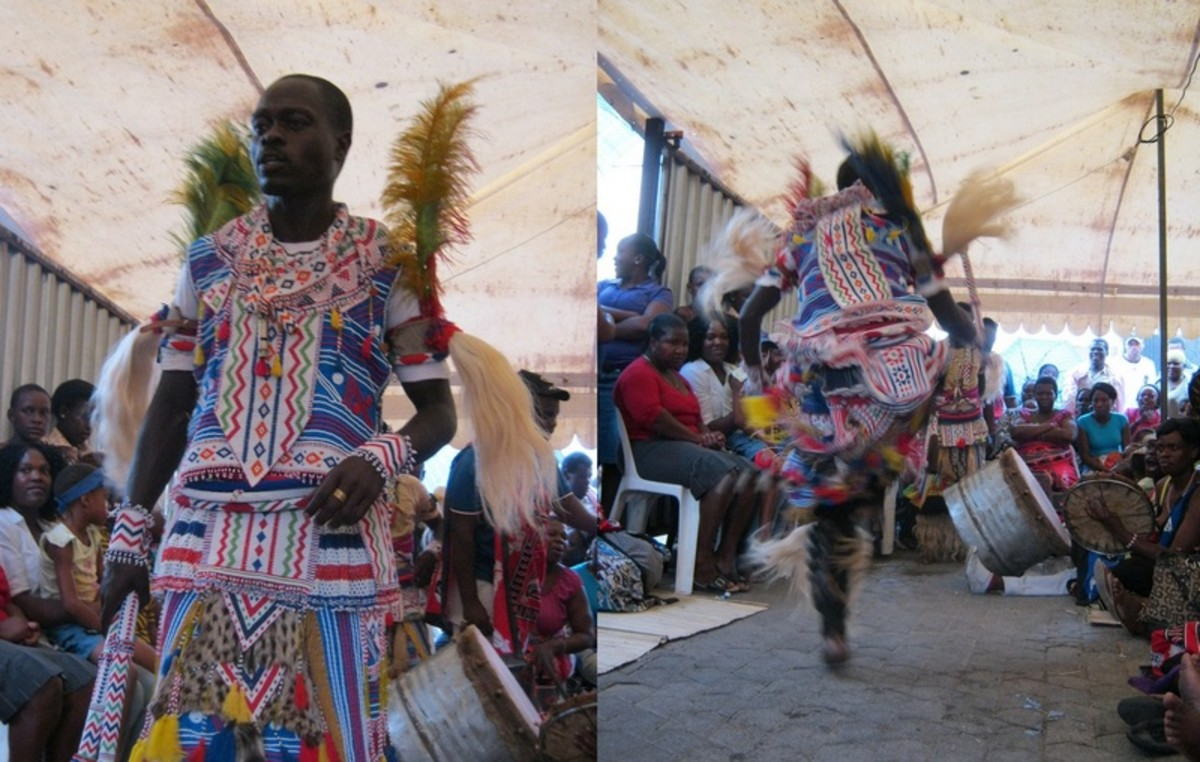 Venda male Sangoma and dressed in Sangoma regal traditional clothing