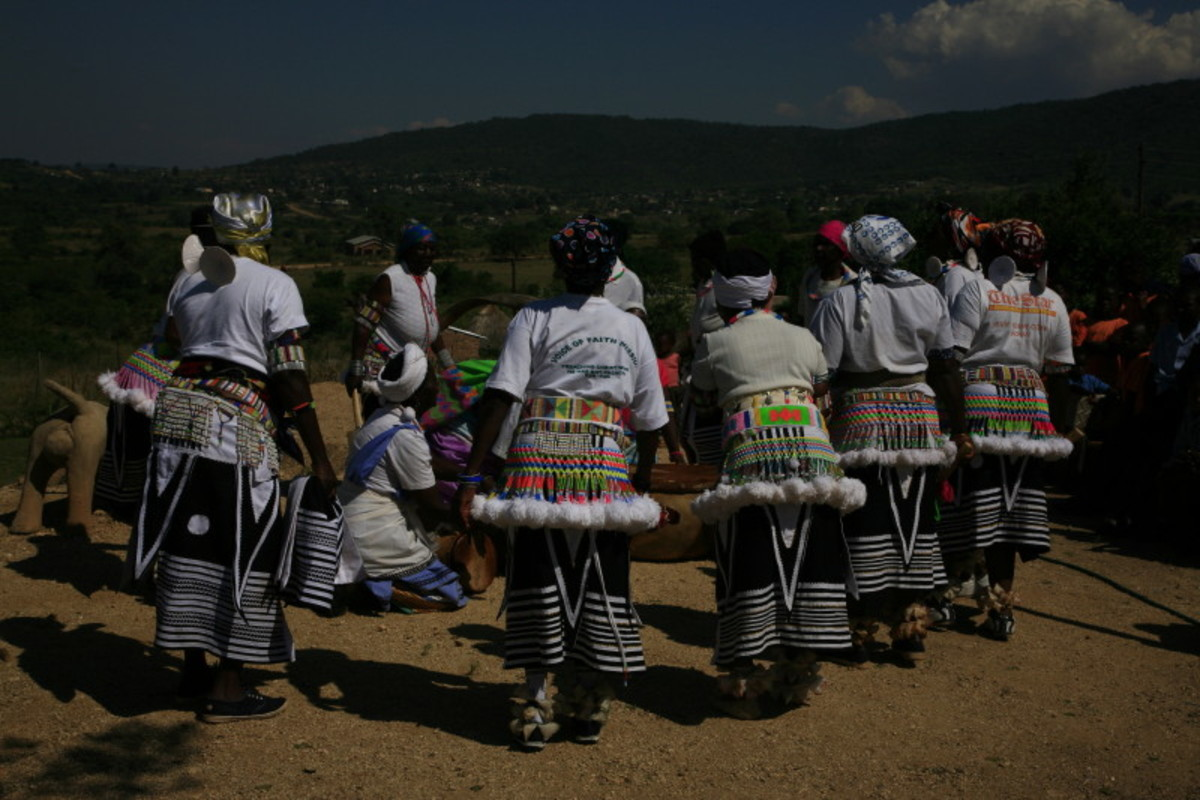 Venda women in their traditional outfit