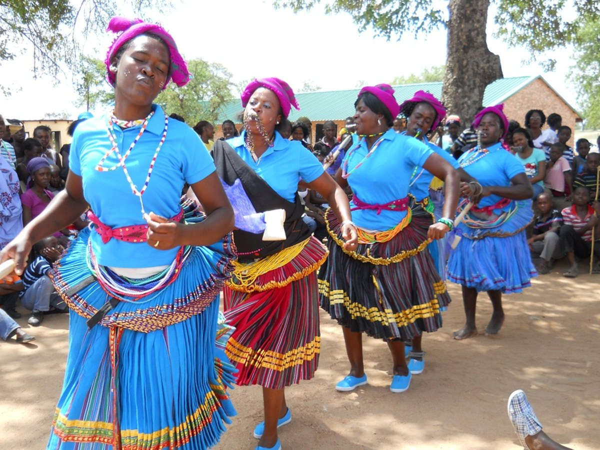 Tsonga Women dancing in traditional dress