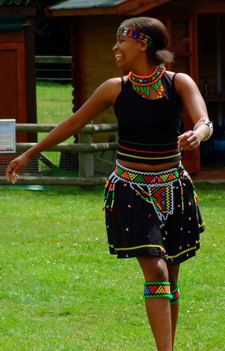 Zulu Girl Dancing in Traditional wear