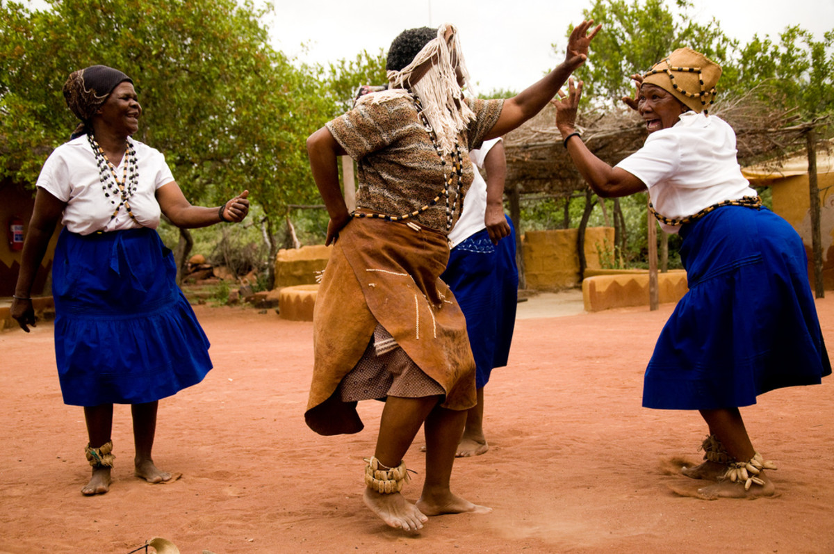 Elderly Batswana Women Dancing their Traditional shindig
