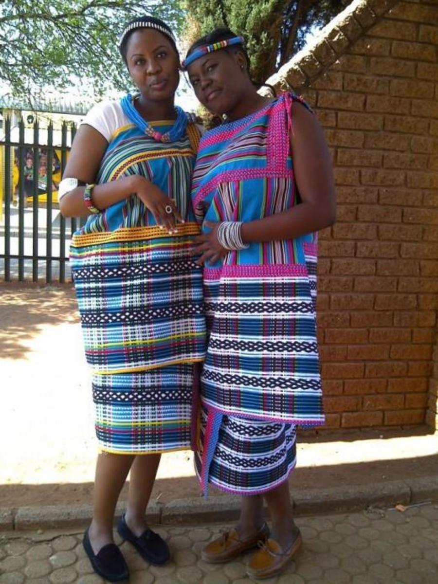 Venda Girls in Traditonal Dress Mode and traditional accessories..