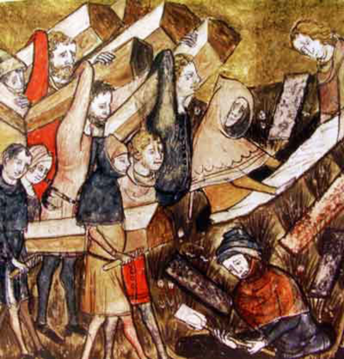 Citizens of Tournai bury plague victims in the 14th century