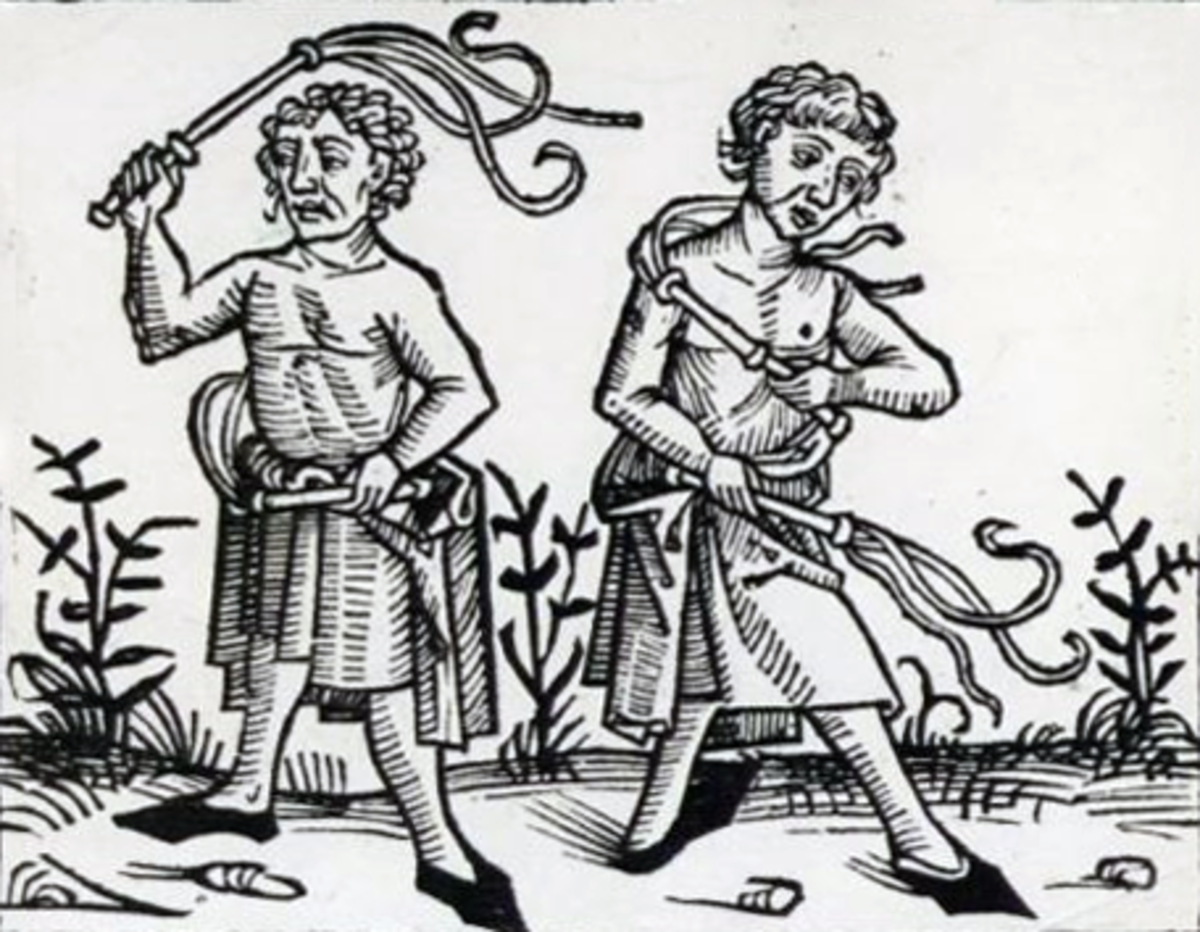 Flagellants beating themselves
