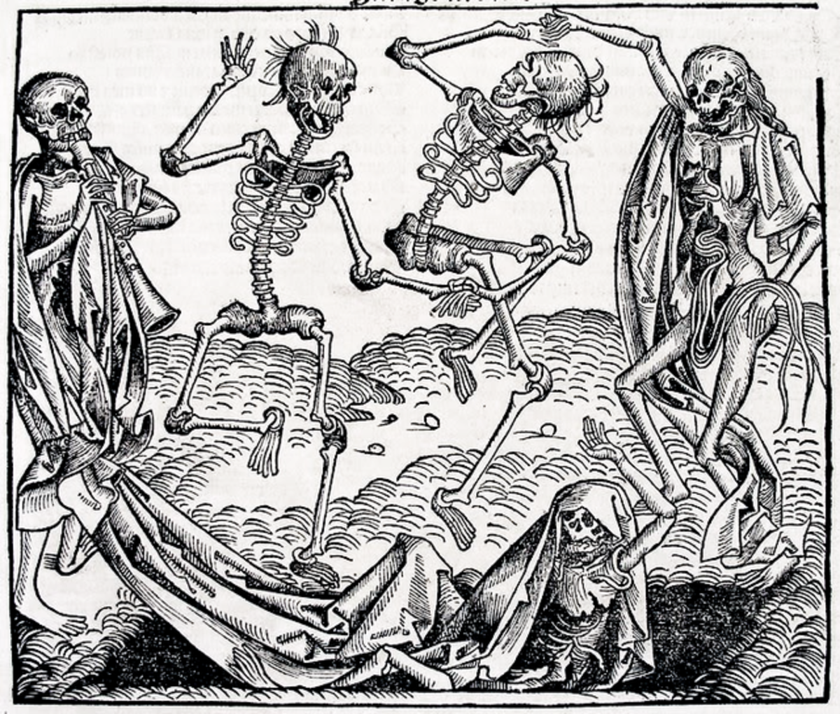 This image of the Dance of Death (by Michael Wolgemeut) was published in Hartman Schedel's Chronicle of the World (Nuremberg, 1493).
