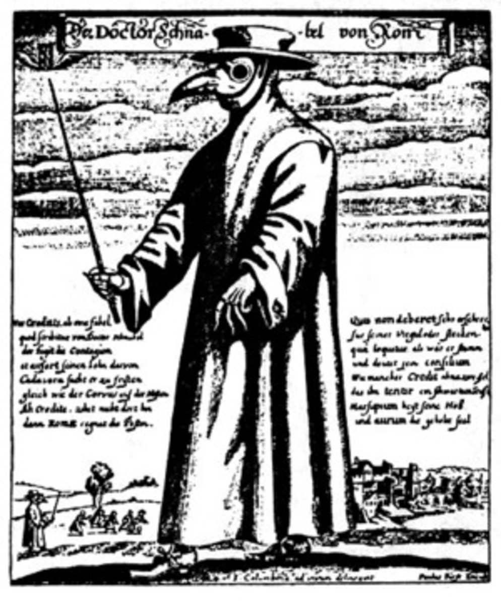 A plague doctor dressed in a heavy fabric waxed overcoat and a face mask with glassed eye openings and a beak full of aromatic herbs (so that he could not smell the putrid air which was then seen as infectious). (Artist: Paul Furst, 1656.)