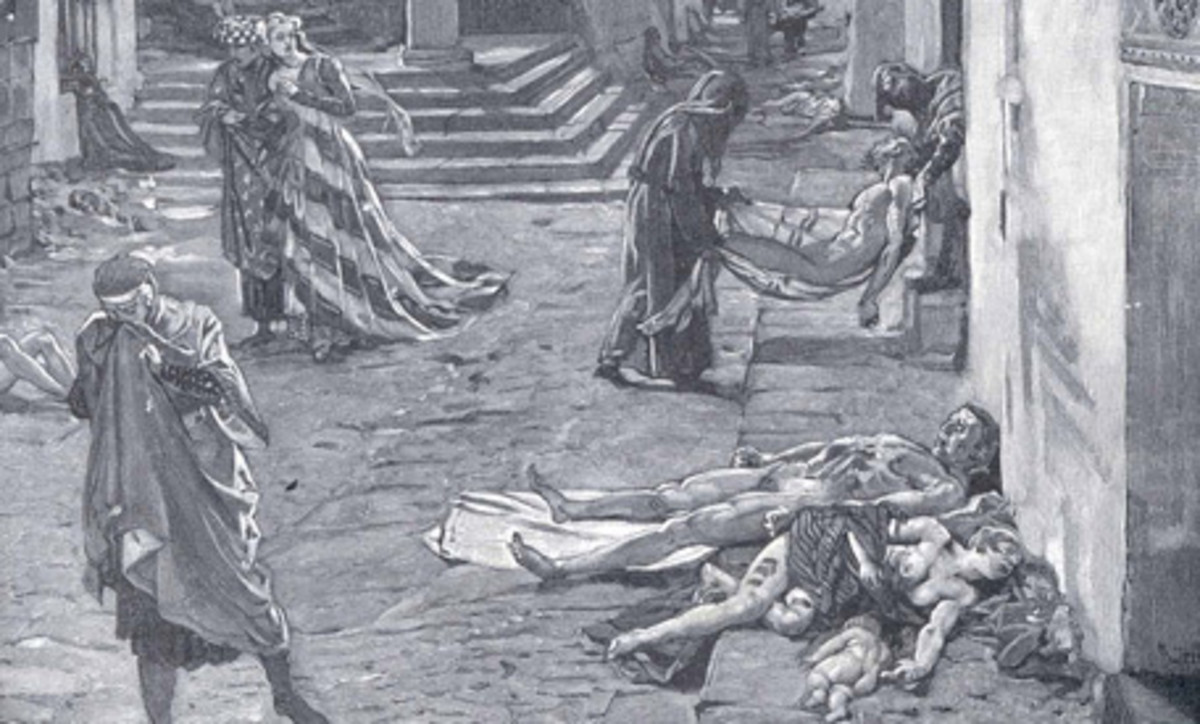 The Black Death in Florence, Italy, 1348 (Drawing by Marcello)