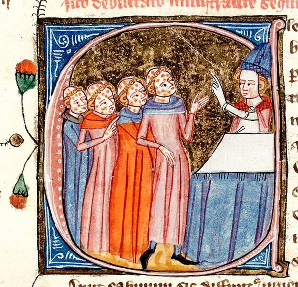 Monks, disfigured by the Black Death, being blessed by a priest. Source: a late 14th-century manuscript Omne Bonum by James le Palmer. Current location: British Library.
