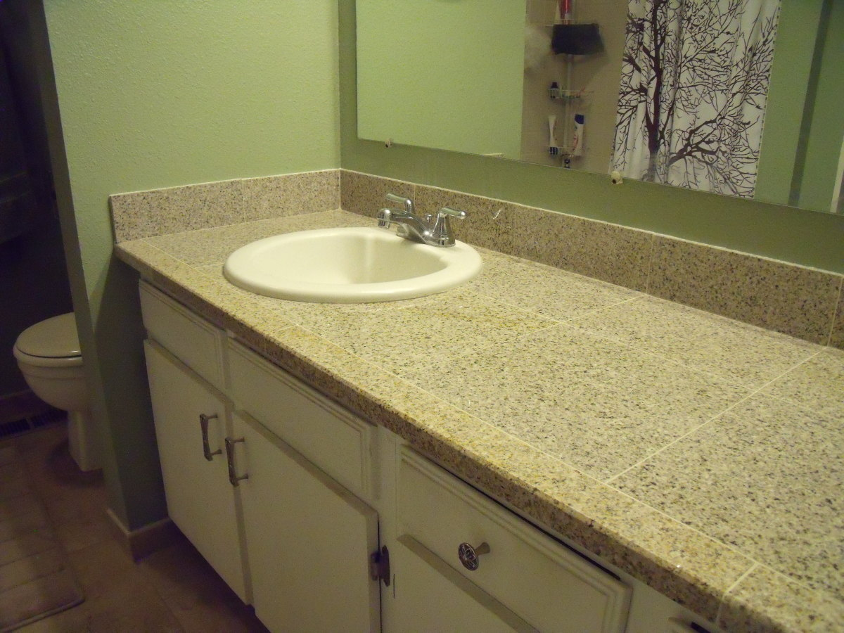ugly laminate countertop gone beautiful granite tile here to stay - Tile Bathroom Countertop